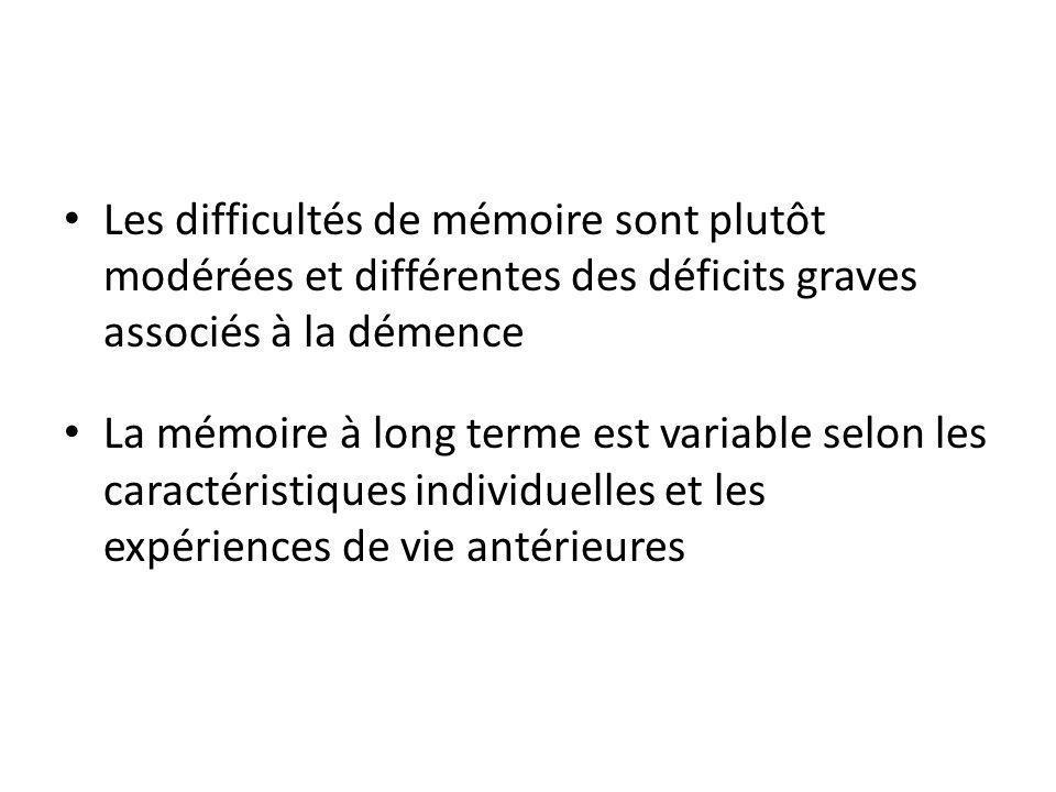 Les difficultés de mémoire sont plutôt modérées et différentes des déficits graves associés à la démence
