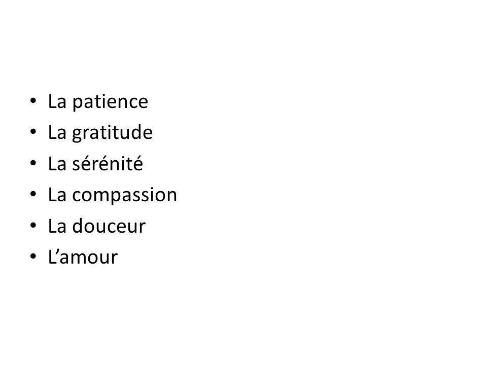 La patience La gratitude La sérénité La compassion La douceur L'amour