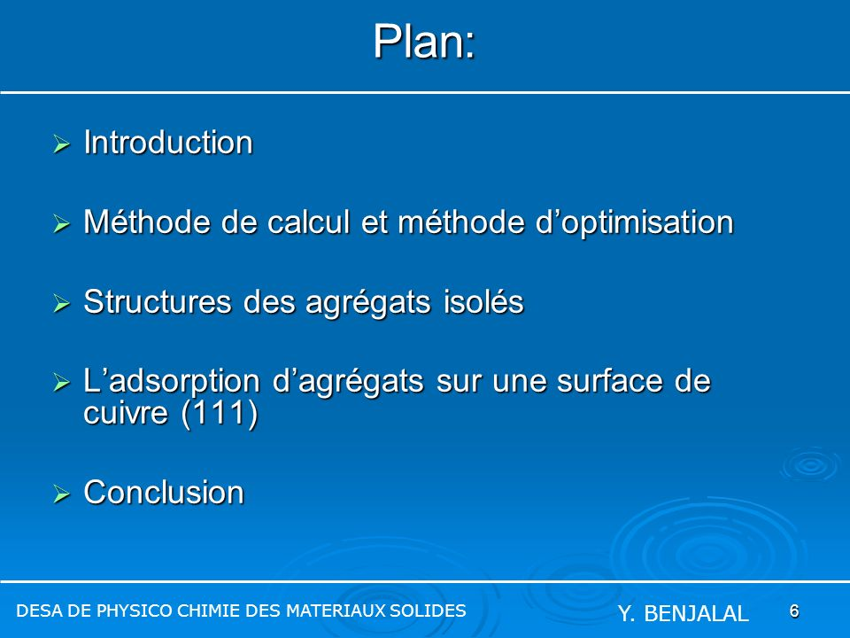 Plan: Introduction Méthode de calcul et méthode d'optimisation