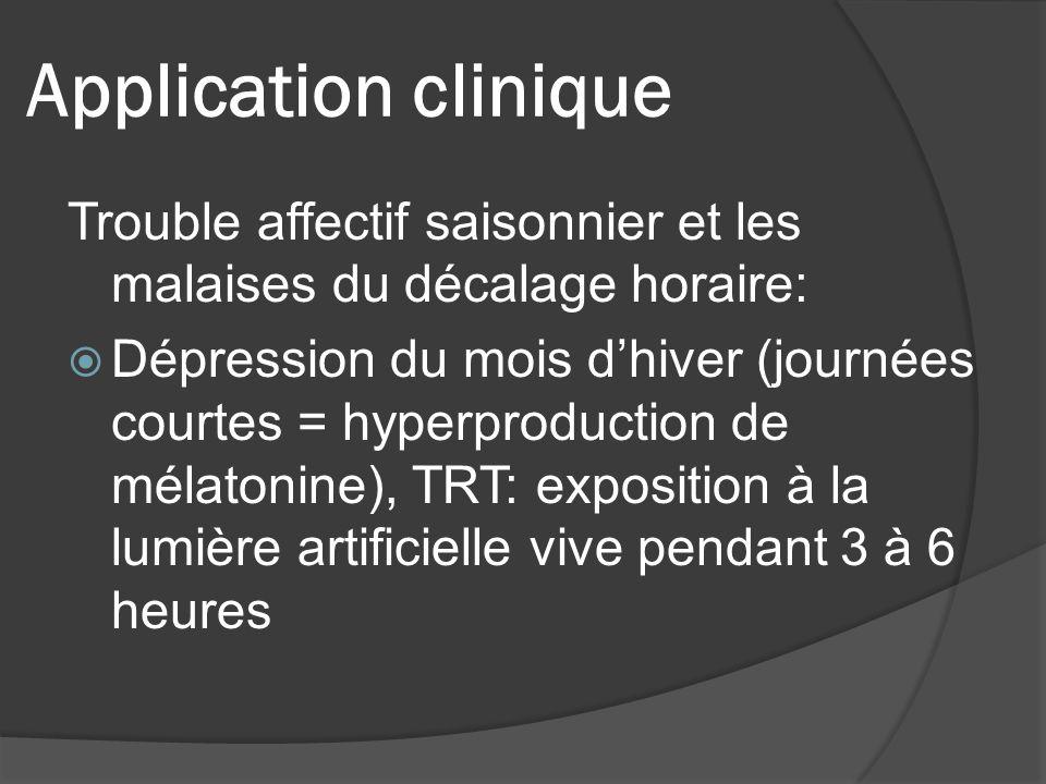 Application clinique Trouble affectif saisonnier et les malaises du décalage horaire: