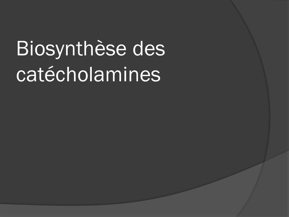 Biosynthèse des catécholamines