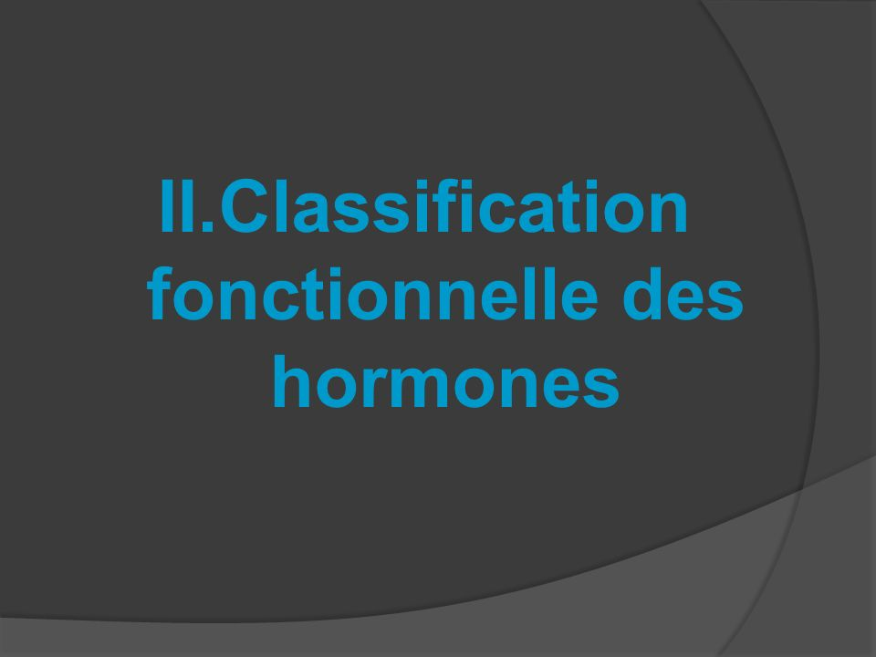 Classification fonctionnelle des hormones