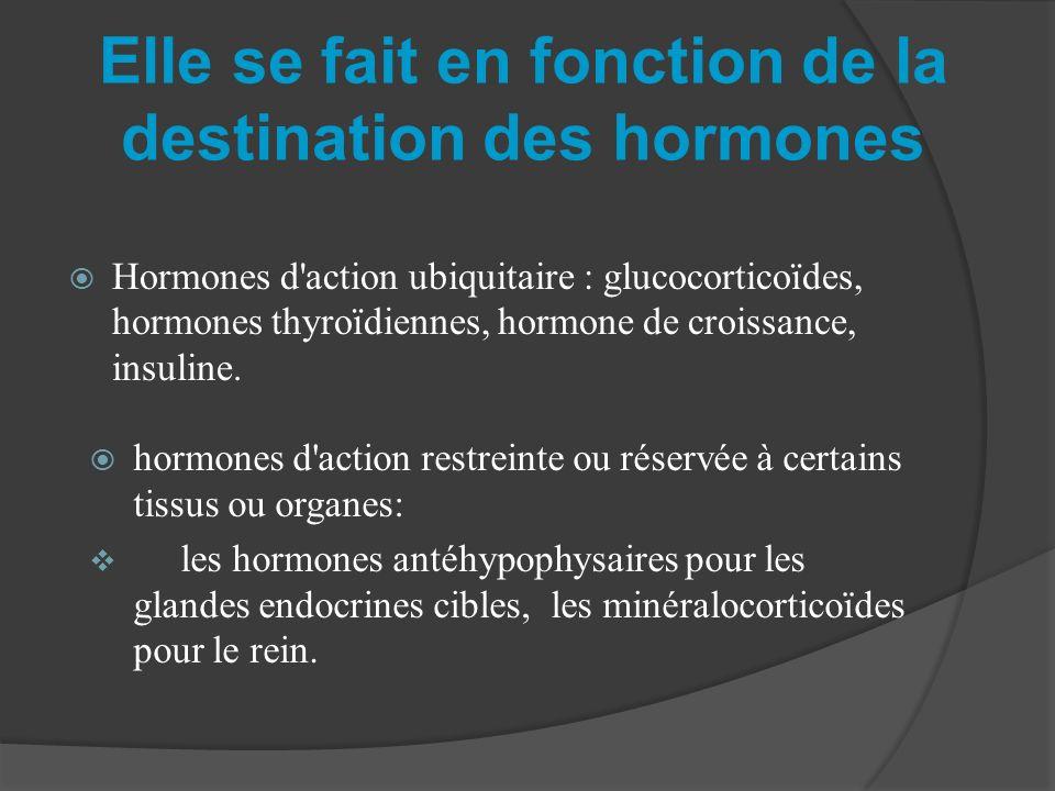 Elle se fait en fonction de la destination des hormones