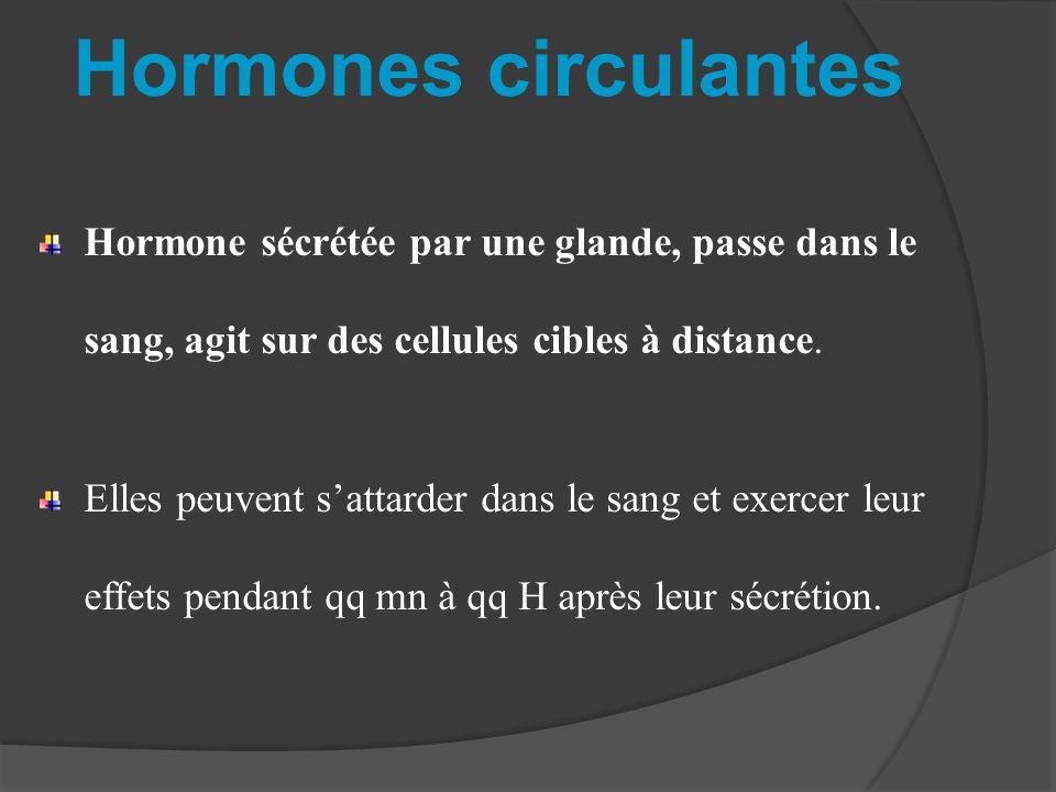 Hormones circulantes Hormone sécrétée par une glande, passe dans le sang, agit sur des cellules cibles à distance.