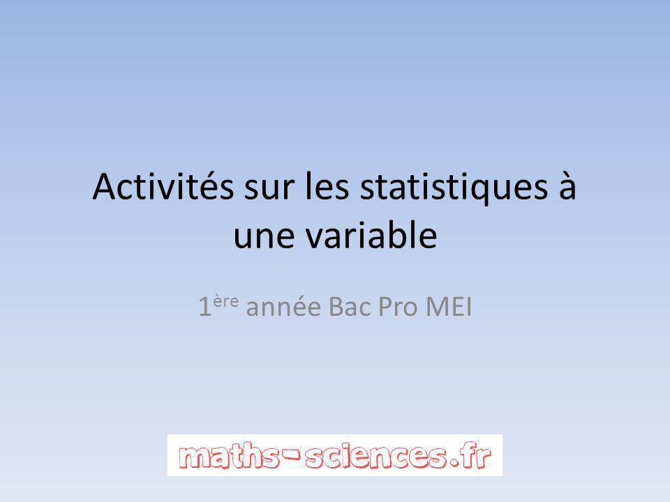 Activités sur les statistiques à une variable