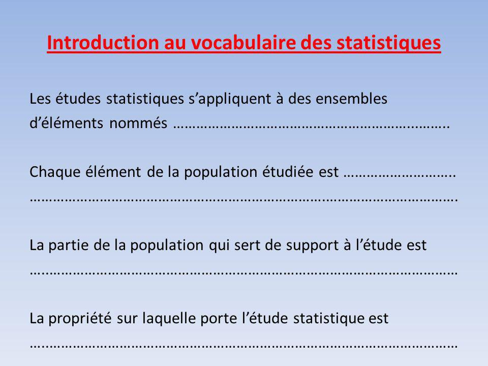Introduction au vocabulaire des statistiques
