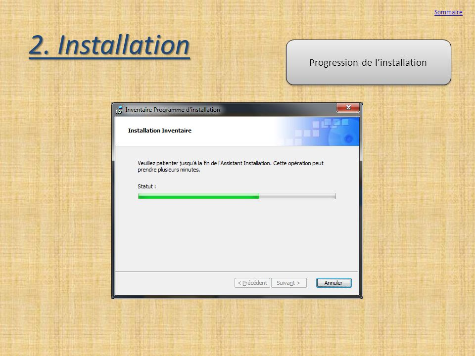 Progression de l'installation