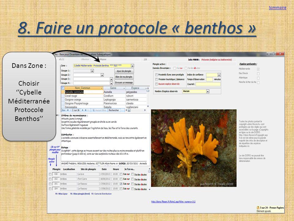 8. Faire un protocole « benthos »