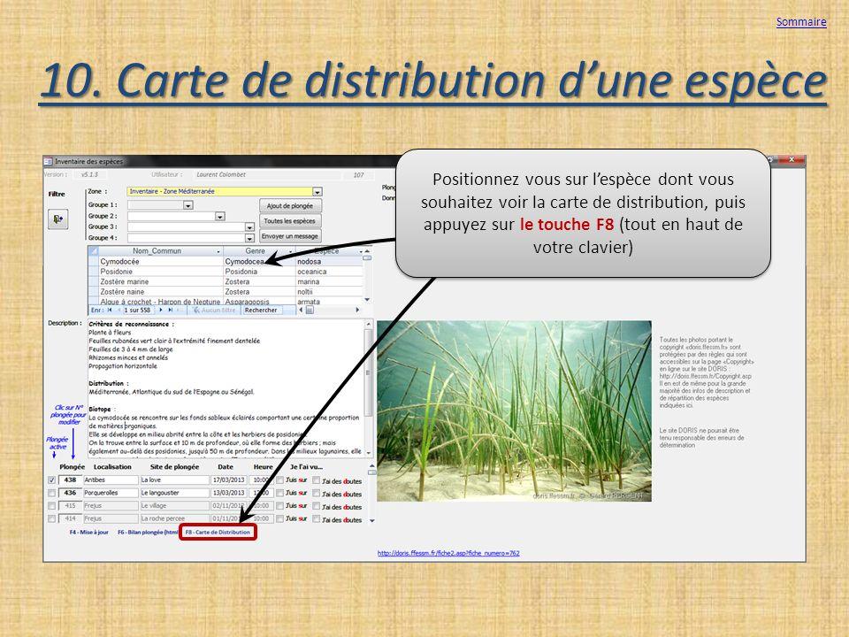 10. Carte de distribution d'une espèce