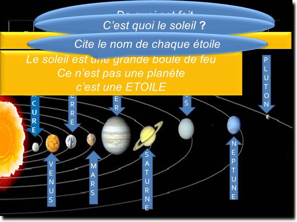 Il est fait du SOLEIL + 9 PLANETES Cite le nom de chaque étoile