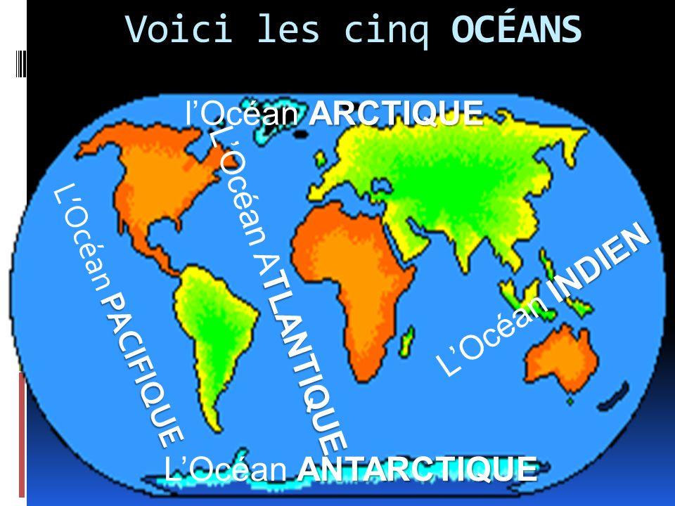 Voici les cinq océans l'Océan Arctique L'Océan Atlantique