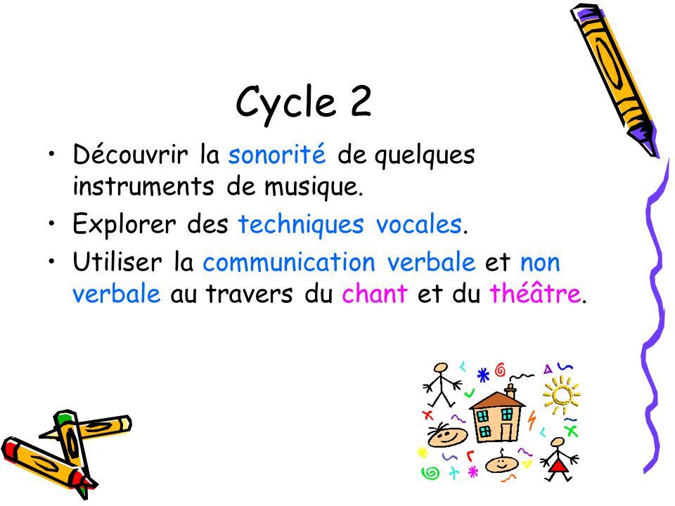 Cycle 2 Découvrir la sonorité de quelques instruments de musique.