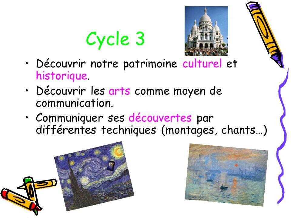 Cycle 3 Découvrir notre patrimoine culturel et historique.