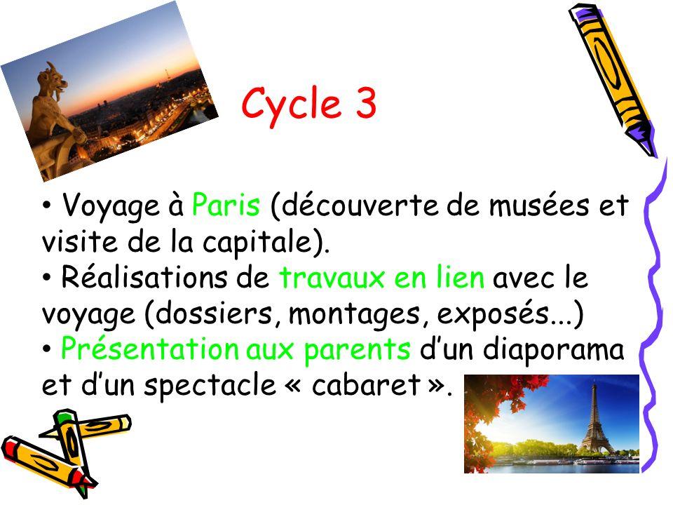 Cycle 3 Voyage à Paris (découverte de musées et visite de la capitale).