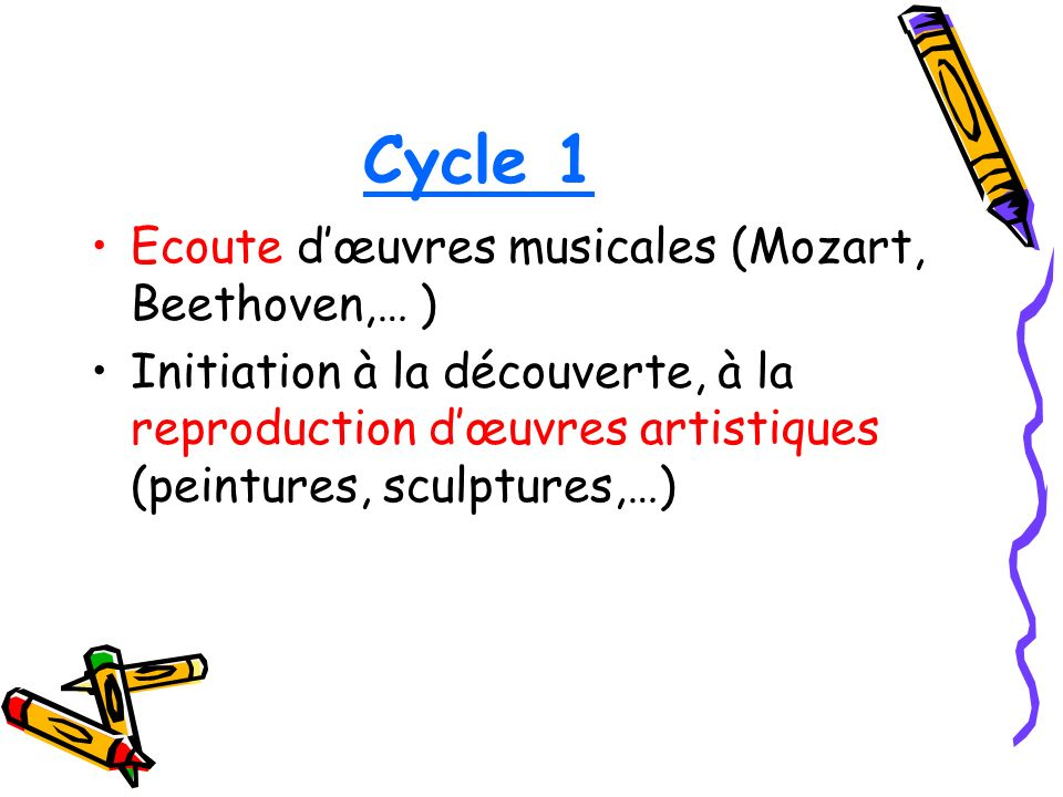 Cycle 1 Ecoute d'œuvres musicales (Mozart, Beethoven,… )