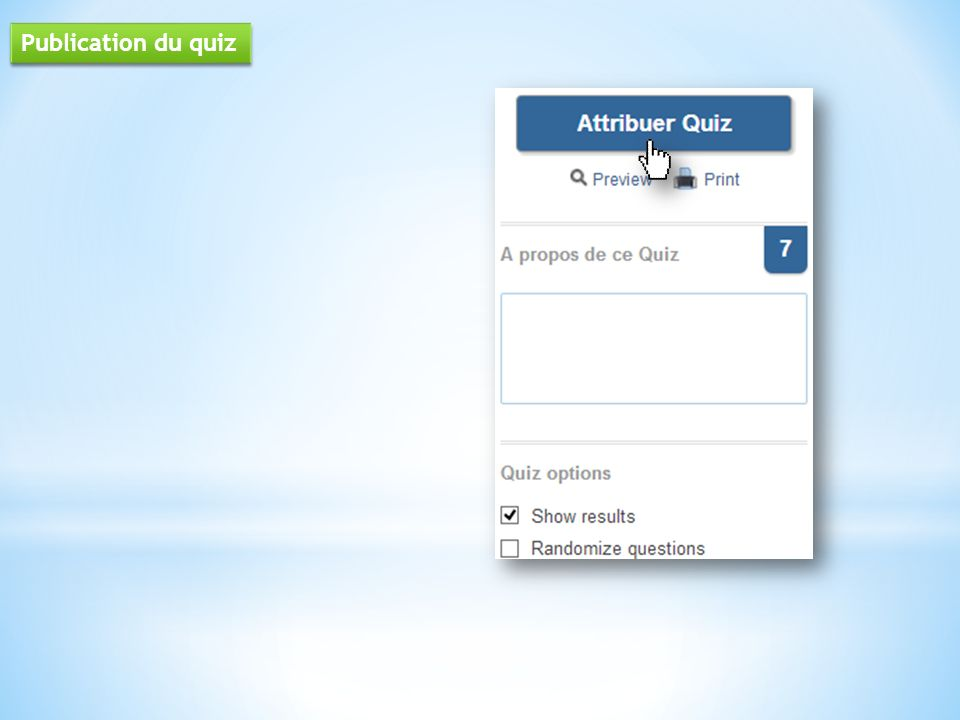 Publication du quiz