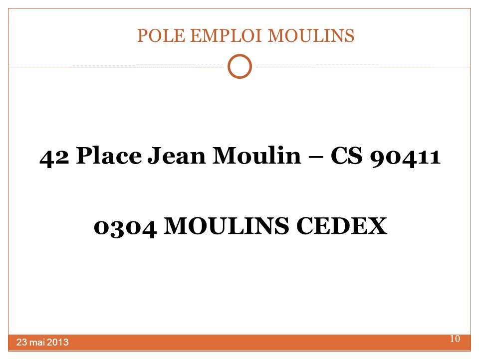 42 Place Jean Moulin – CS 90411 0304 MOULINS CEDEX