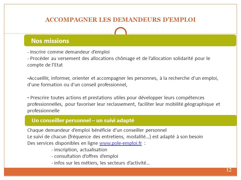 ACCOMPAGNER LES DEMANDEURS D'EMPLOI
