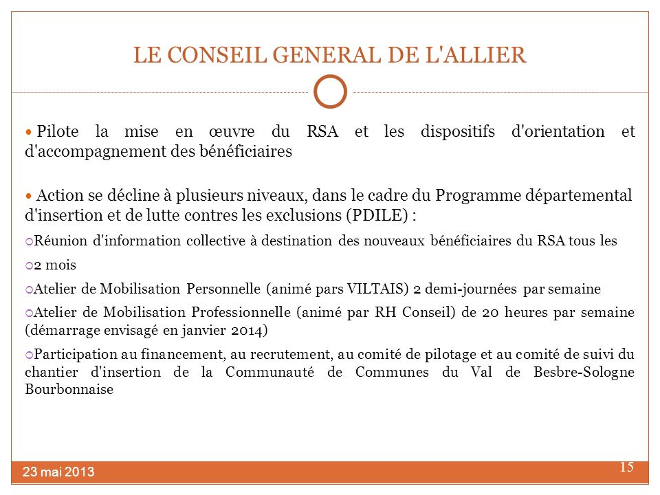 LE CONSEIL GENERAL DE L ALLIER