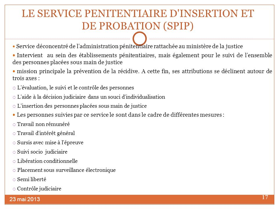 LE SERVICE PENITENTIAIRE D INSERTION ET DE PROBATION (SPIP)