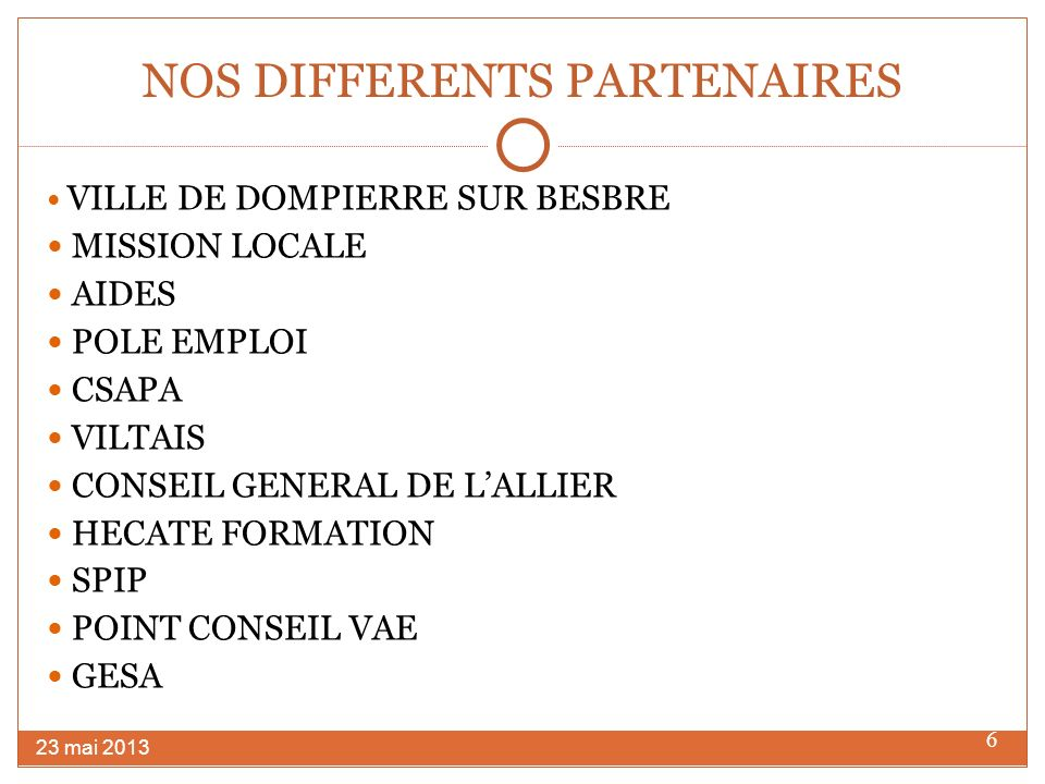 NOS DIFFERENTS PARTENAIRES