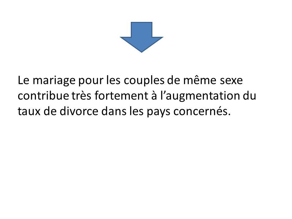 Le mariage pour les couples de même sexe contribue très fortement à l'augmentation du taux de divorce dans les pays concernés.