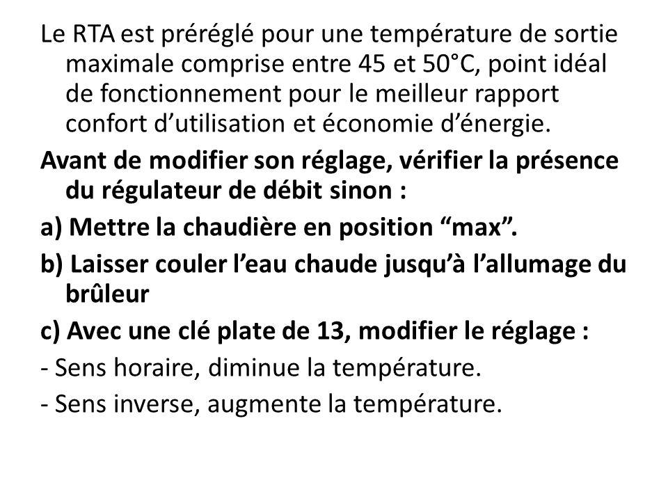 Le RTA est préréglé pour une température de sortie maximale comprise entre 45 et 50°C, point idéal de fonctionnement pour le meilleur rapport confort d'utilisation et économie d'énergie.