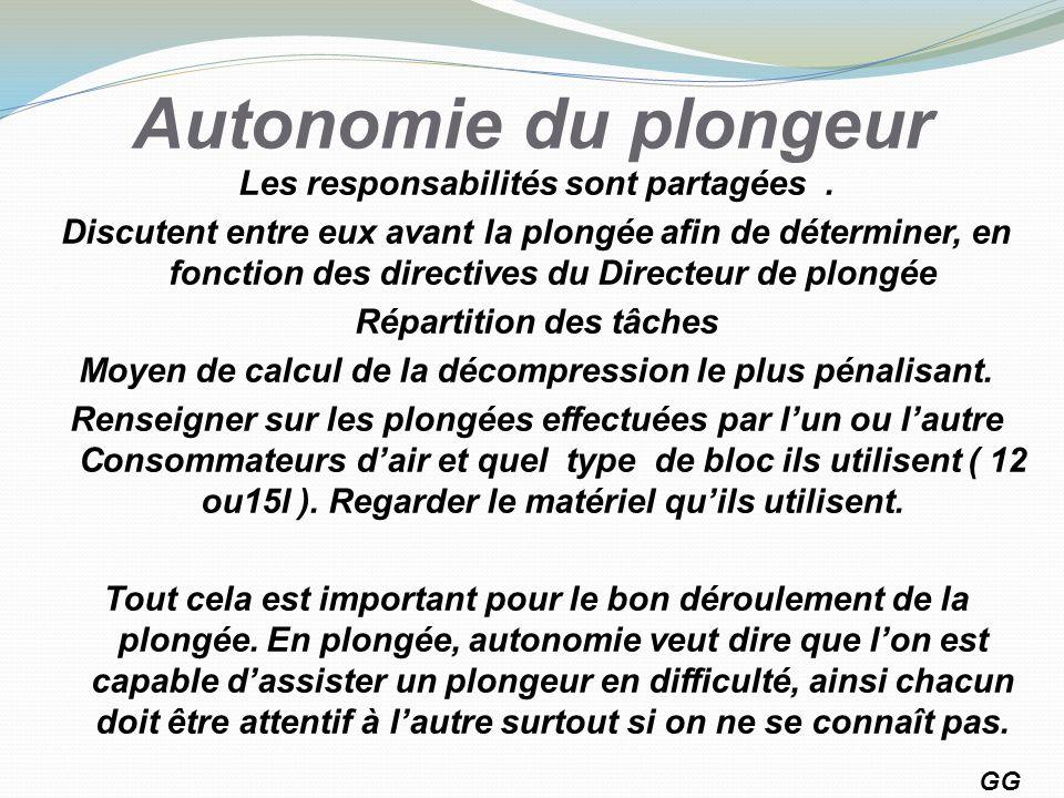 Autonomie du plongeur