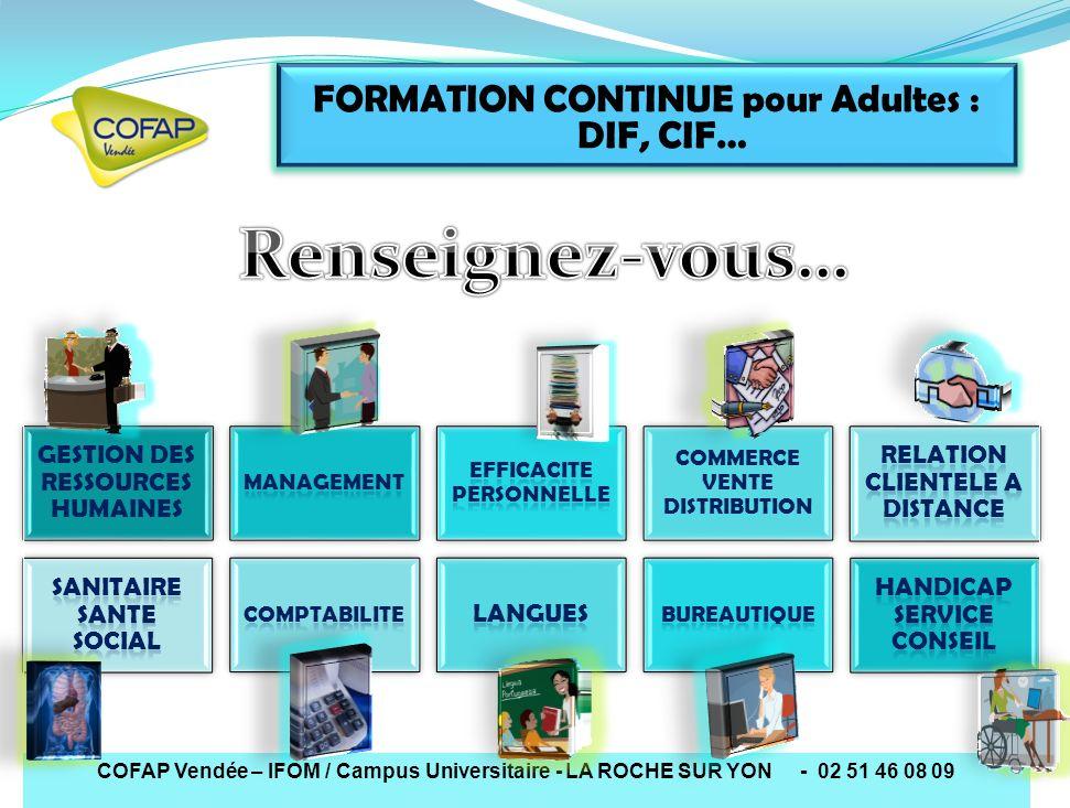FORMATION CONTINUE pour Adultes : DIF, CIF…