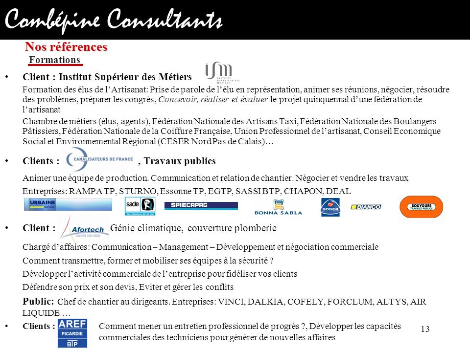 Nos références Formations. Client : Institut Supérieur des Métiers.