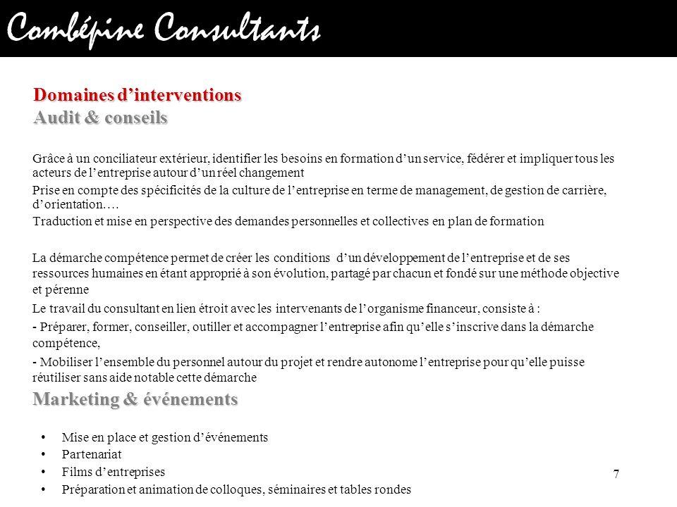 Domaines d'interventions Audit & conseils