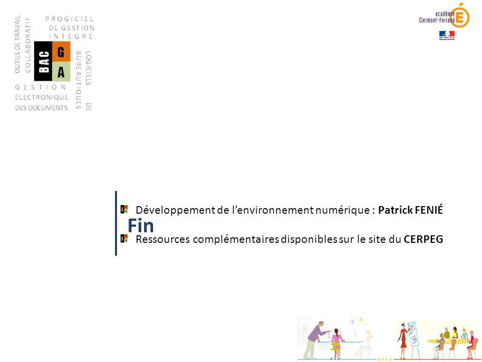 Fin Développement de l'environnement numérique : Patrick FENIÉ