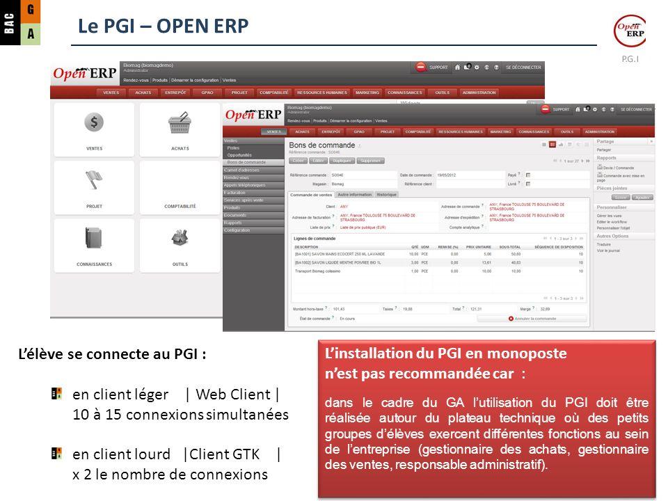 Le PGI – OPEN ERP L'élève se connecte au PGI :