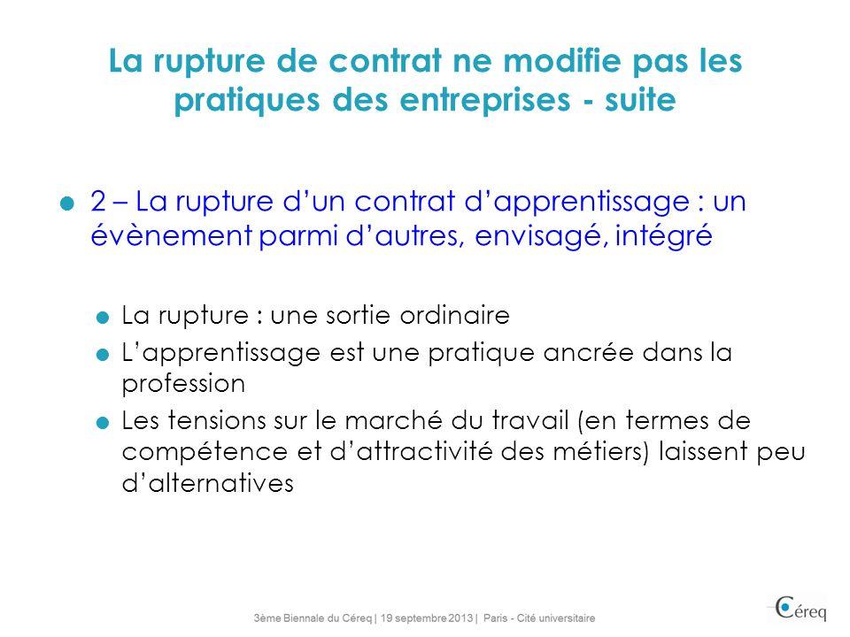 La rupture de contrat ne modifie pas les pratiques des entreprises - suite