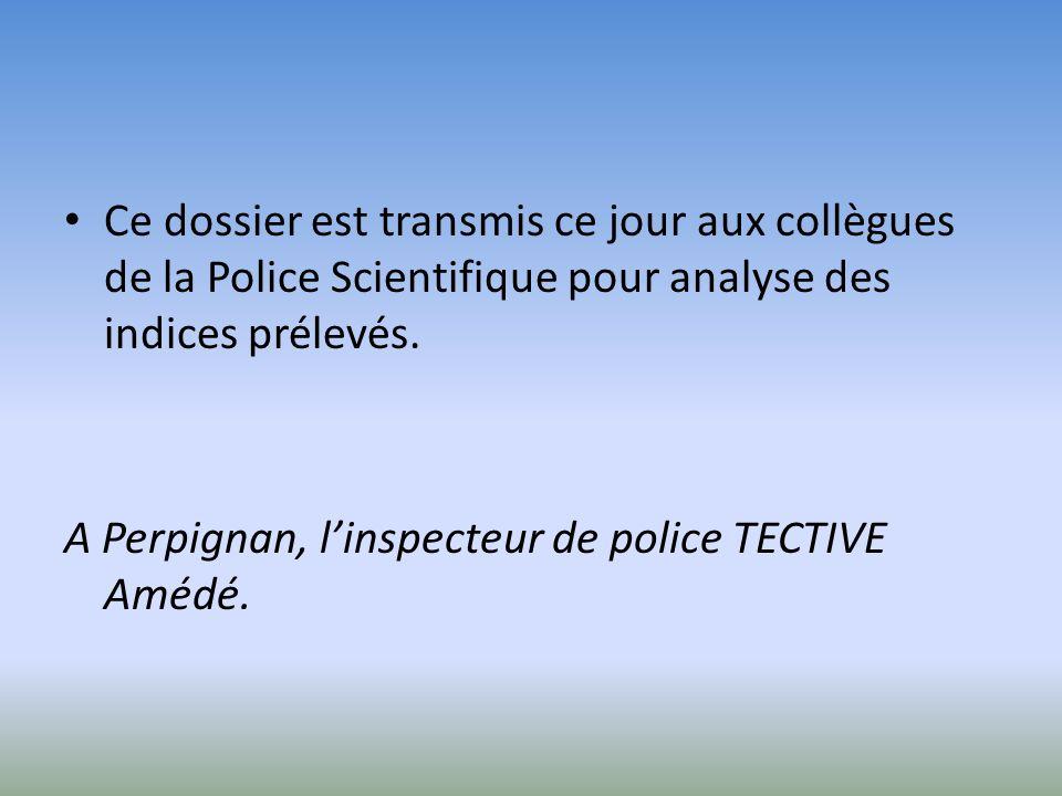 Ce dossier est transmis ce jour aux collègues de la Police Scientifique pour analyse des indices prélevés.
