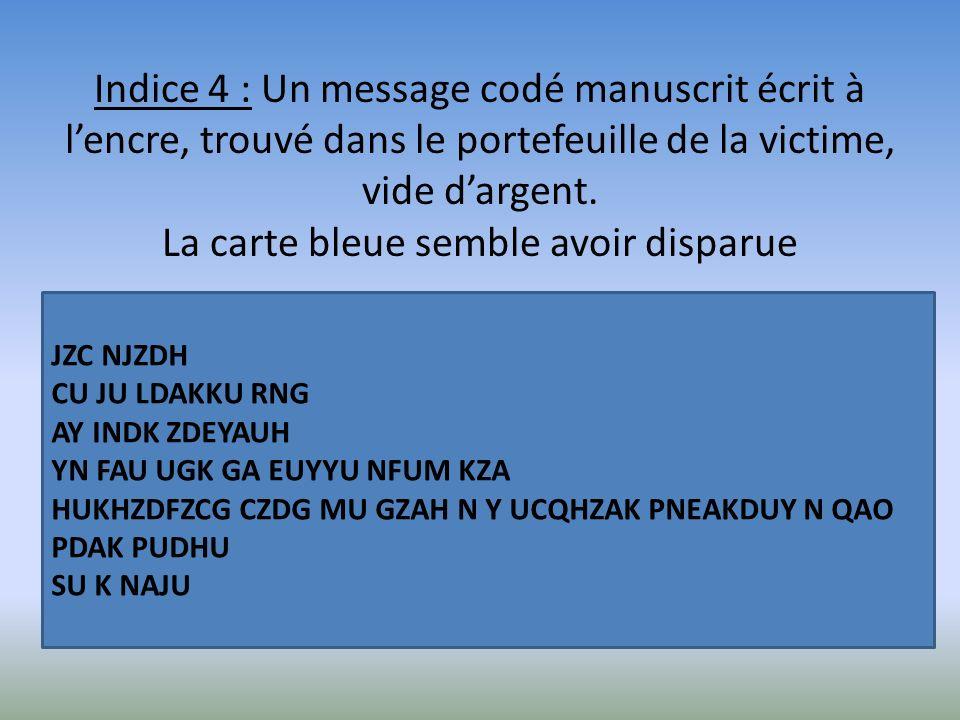 Indice 4 : Un message codé manuscrit écrit à l'encre, trouvé dans le portefeuille de la victime, vide d'argent. La carte bleue semble avoir disparue