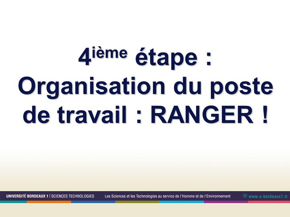 4ième étape : Organisation du poste de travail : RANGER !