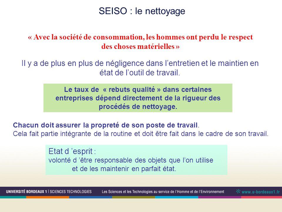 SEISO : le nettoyage « Avec la société de consommation, les hommes ont perdu le respect. des choses matérielles »