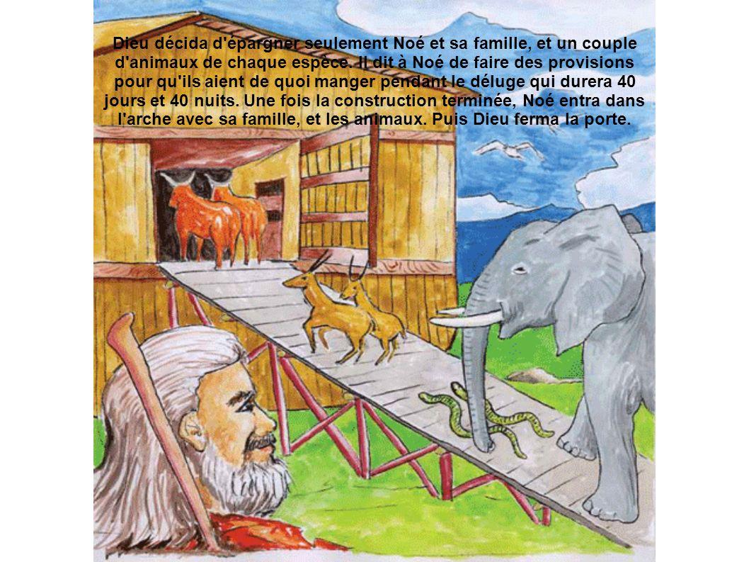 Dieu décida d épargner seulement Noé et sa famille, et un couple d animaux de chaque espèce.