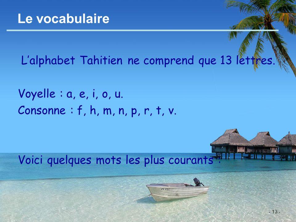Le vocabulaire L'alphabet Tahitien ne comprend que 13 lettres.