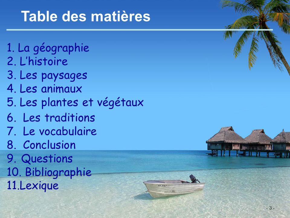 Table des matières 1. La géographie 2. L'histoire 3. Les paysages