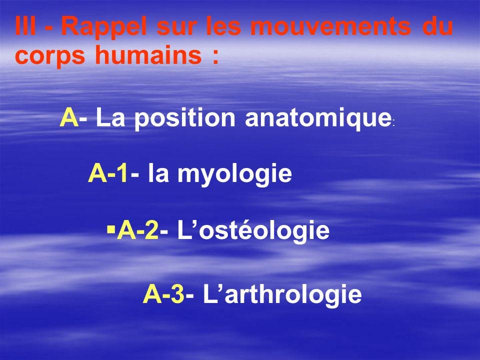 III - Rappel sur les mouvements du corps humains :