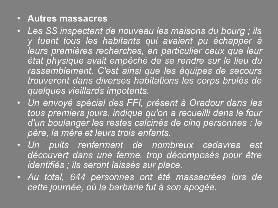 Autres massacres