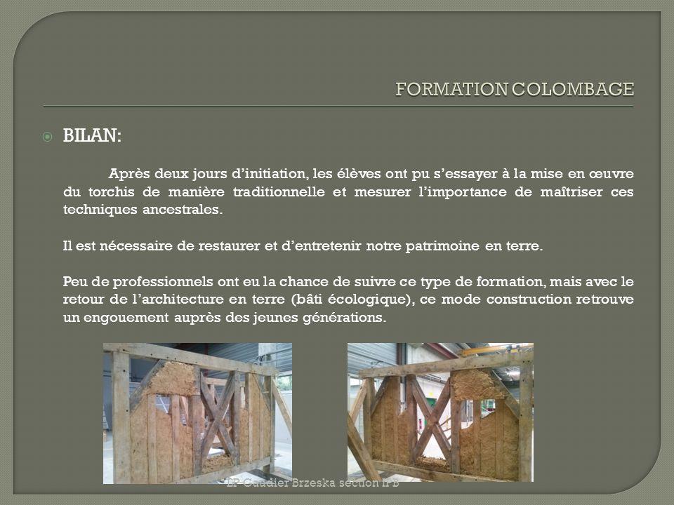 FORMATION COLOMBAGE BILAN: