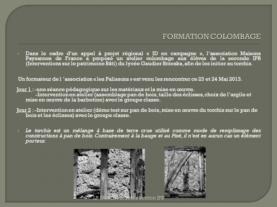 FORMATION COLOMBAGE