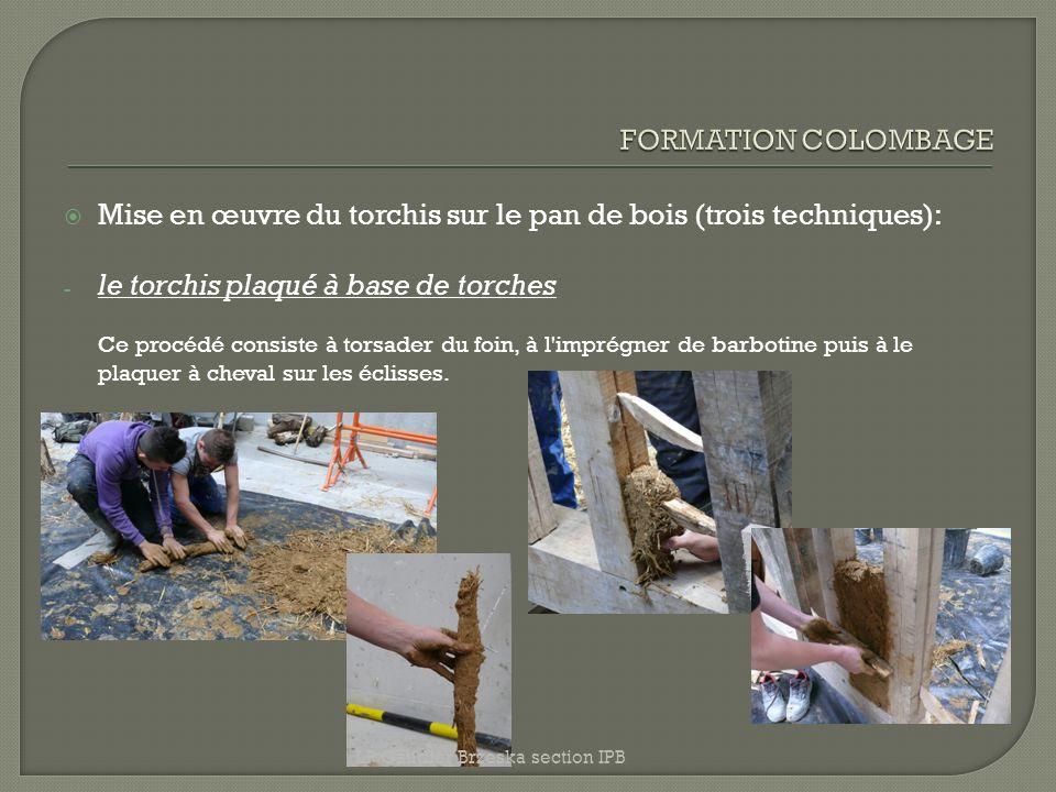 Mise en œuvre du torchis sur le pan de bois (trois techniques):
