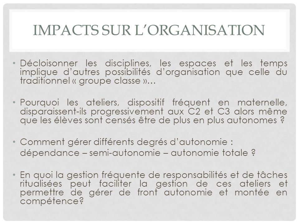 Impacts sur l'organisation
