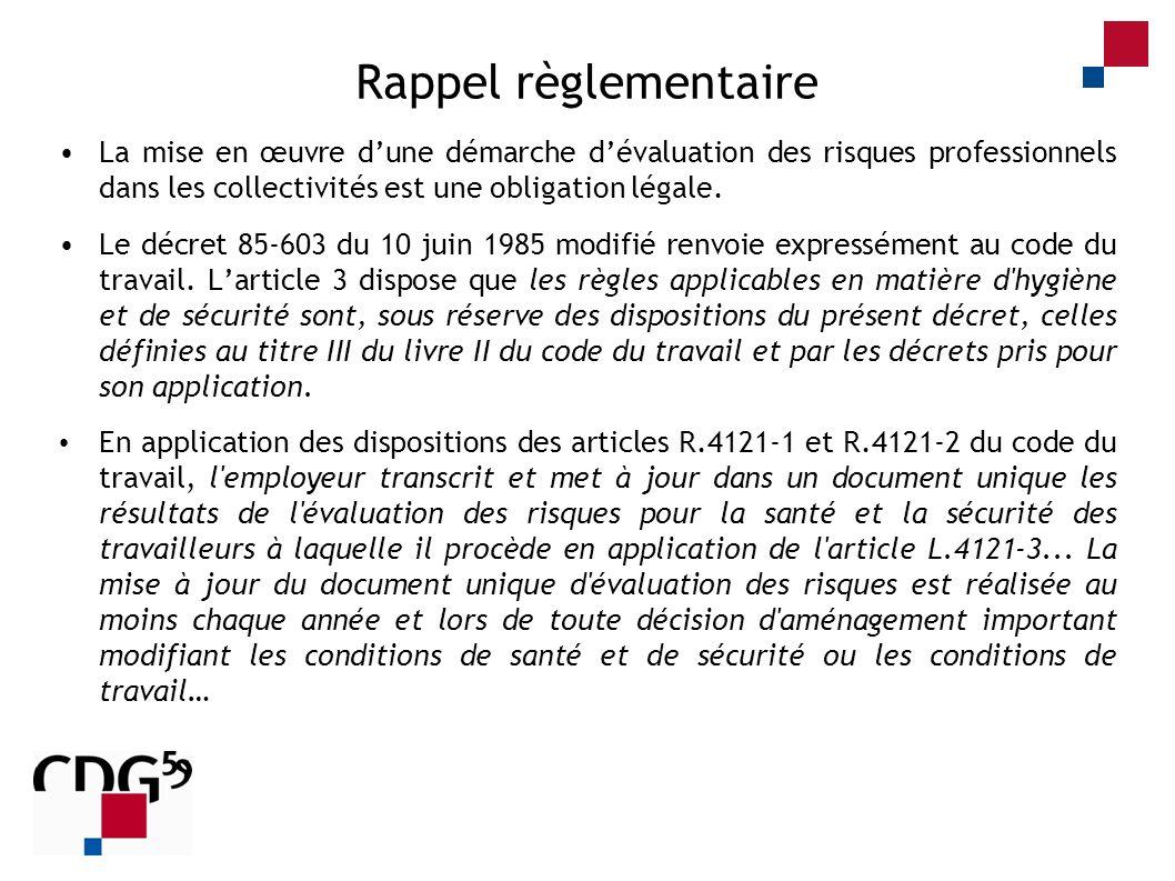 Rappel règlementaire La mise en œuvre d'une démarche d'évaluation des risques professionnels dans les collectivités est une obligation légale.