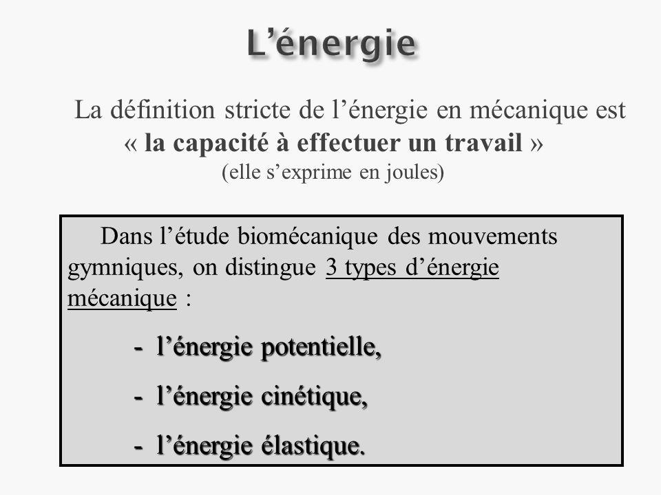 L'énergie - l'énergie potentielle, - l'énergie cinétique,