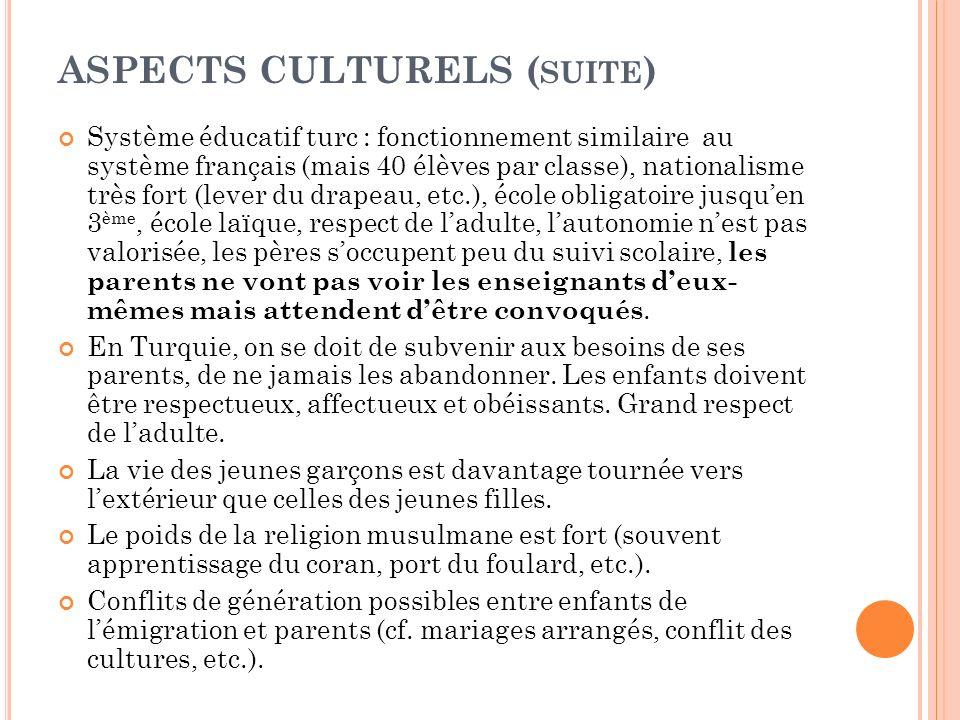 ASPECTS CULTURELS (suite)